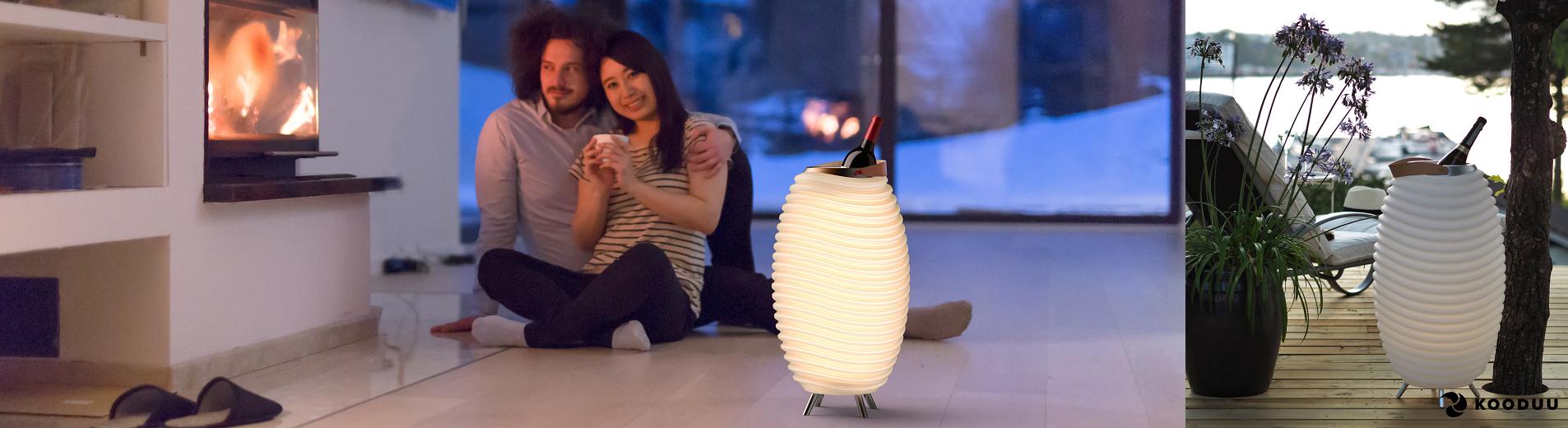 LED šviestuvas-kolonėlė-gėrimų šaldiklis